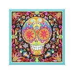 Arte colorido del cráneo del azúcar lona estirada galerías