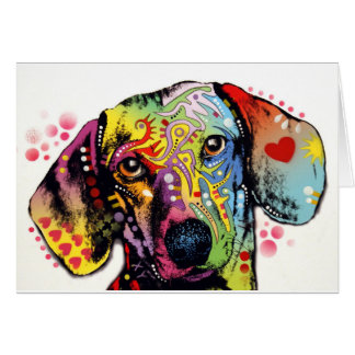 arte colorido del Dachshund Tarjeta De Felicitación