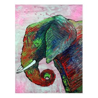 Arte colorido del elefante postales