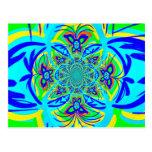 Arte colorido del fractal del extracto de la flor  tarjeta postal