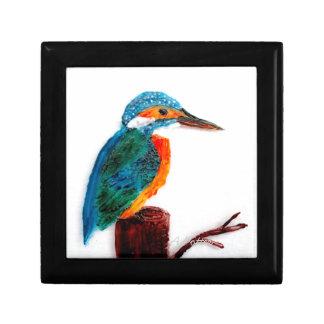 Arte colorido del martín pescador joyero cuadrado pequeño