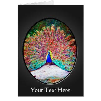 Arte colorido del pavo real del vintage tarjeta de felicitación