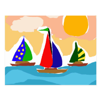 Arte colorido del primitivo del velero SA Tarjeta Postal