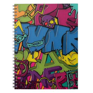Arte colorido, enrrollado y urbano de la pintada libretas espirales