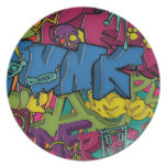 Arte colorido, enrrollado y urbano de la pintada platos para fiestas