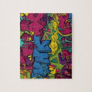 Arte colorido, enrrollado y urbano de la pintada puzzle