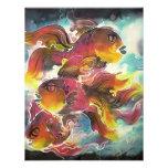 Arte colorido luminoso de la seda del Goldfish Invitacion Personal