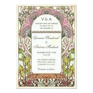 Arte colorido Nouveau de las invitaciones del boda Invitación 12,7 X 17,8 Cm