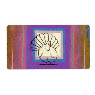 Arte colorido único de los pegatinas del pavo de l etiqueta de envío