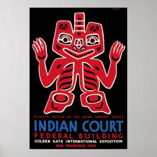 Arte combinado indio WPA del Haida del vintage Póster