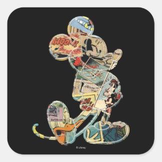 Arte cómico clásico de Mickey el | Pegatina Cuadrada