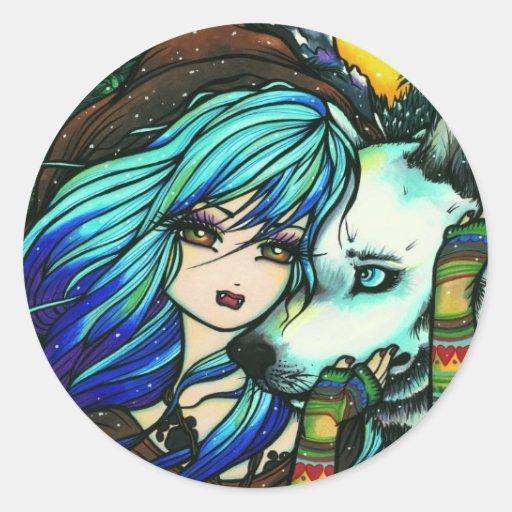Arte cómico de hadas de la fantasía de White Wolf Pegatina Redonda