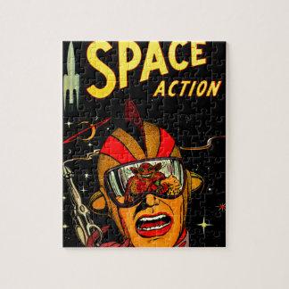 Arte cómico del astronauta de la ciencia ficción d rompecabezas