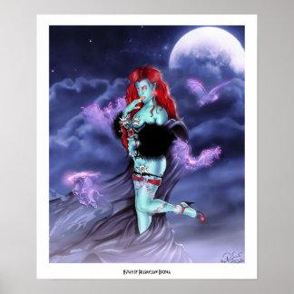 Arte cómico del estilo de la señora fresca de prin póster