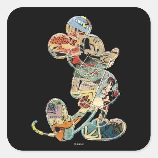 Arte cómico Mickey Mouse Pegatina Cuadrada