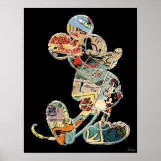 Arte cómico Mickey Mouse Póster