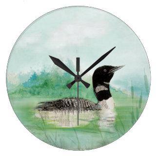 Arte común de la naturaleza del pájaro del bribón reloj redondo grande
