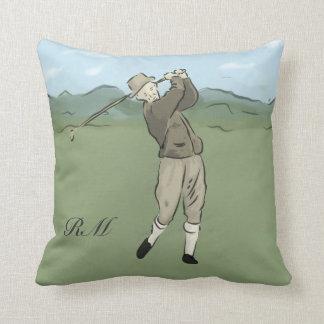 Arte con monograma del golf del estilo del vintage cojines