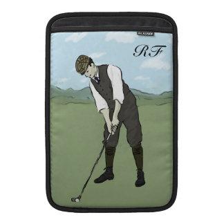Arte con monograma del golf del estilo del vintage funda  MacBook