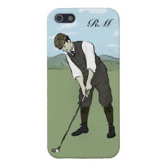 Arte con monograma del golf del estilo del vintage iPhone 5 fundas