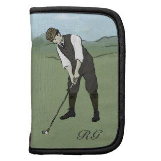 Arte con monograma del golf del estilo del vintage organizadores