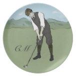Arte con monograma del golf del estilo del vintage platos para fiestas