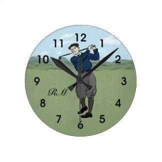 Arte con monograma del golf del estilo del vintage reloj redondo mediano