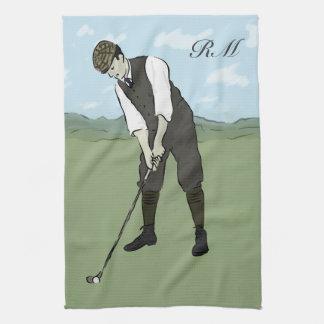 Arte con monograma del golf del estilo del vintage toallas de mano