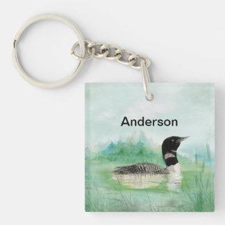 Arte conocido de encargo del lago bird del bribón  llavero cuadrado acrílico a una cara