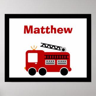 Arte conocido personalizado coche de bomberos rojo póster