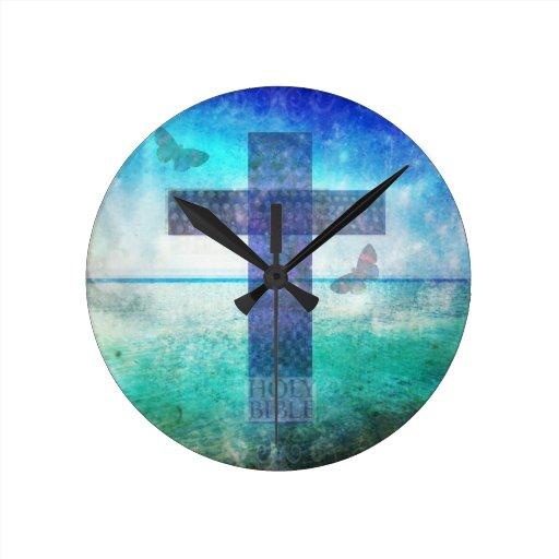 Arte contemporáneo cruzado cristiano relojes de pared