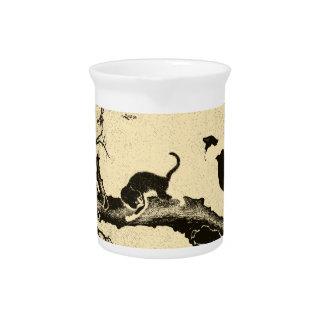 Arte coreano del gato del vintage jarras para bebida