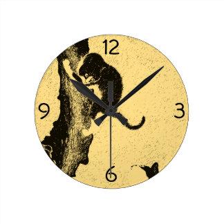 Arte coreano del gato del vintage reloj redondo mediano