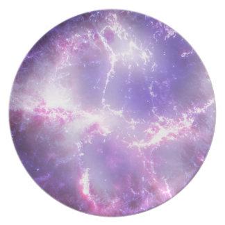 Arte cósmico púrpura del relámpago platos para fiestas