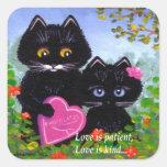 Arte Creationarts del gato negro del el día de San Pegatina Cuadrada