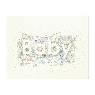 """Arte creativo de la novedad del texto del """"bebé"""" impresiones en lienzo estiradas"""