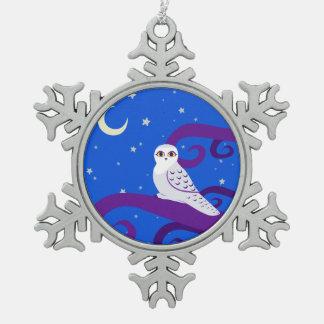 Arte creciente del bosque de la noche de la luna adorno de peltre en forma de copo de nieve