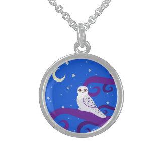 Arte creciente del bosque de la noche de la luna collares de plata esterlina