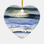 Arte crepuscular de la decoración de la resaca de adorno navideño de cerámica en forma de corazón