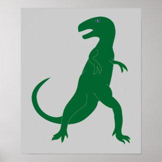 Arte cretáceo del dibujo animado del Tyrannosaurus Póster