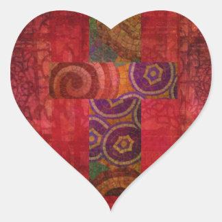 Arte cristiano contemporáneo colorido de la cruz pegatina en forma de corazón