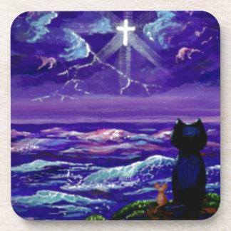 Arte cristiano Creationarts del ratón del gato neg Posavasos