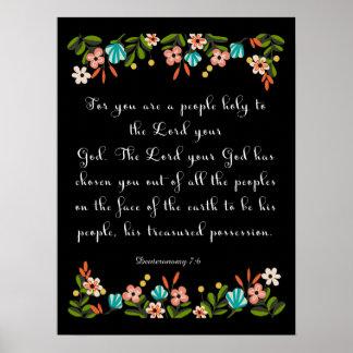Arte cristiano de la cita - 7:6 de Deuteronomy Poster