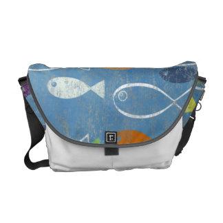 Arte cristiano de los pescados bolsas messenger