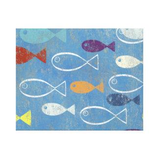 Arte cristiano de los pescados impresiones de lienzo