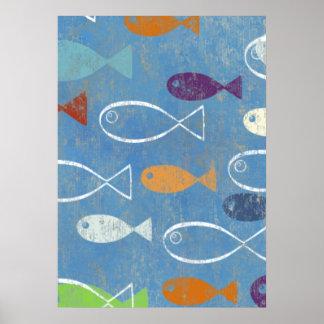 Arte cristiano de los pescados póster