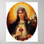 Arte cristiano del corazón sagrado de Jesús y de M Impresiones
