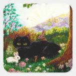 Arte cristiano del gato negro que pinta pegatina cuadrada
