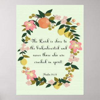 Arte cristiano fresco - 34:18 del salmo posters