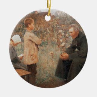 Arte cristiano la lección del catecismo adorno de navidad